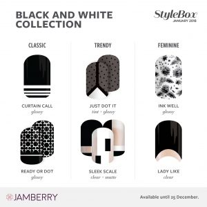 Jamberry 2018 StyleBox - Black & White Collection